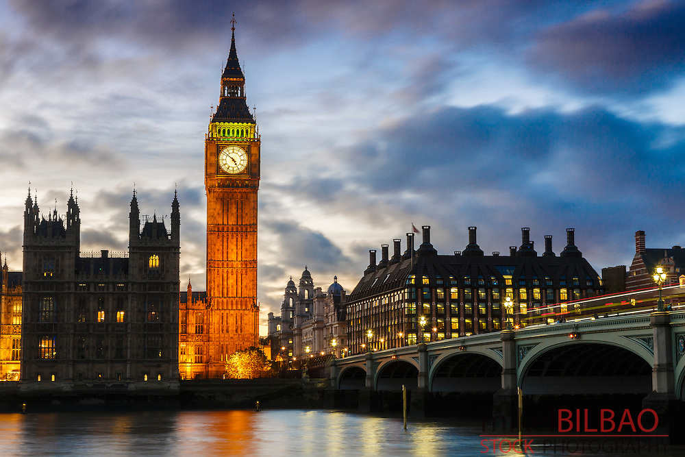 Big Ben and Houses of Parliament at dusk. London, England, United kingdom, Europe.