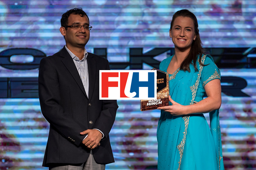 CHANDIGARH, INDIA - FEBRUARY 23: Nitin Kukreja [L] of Star Sports presents the FIH Female Goal Keeper of the Year award to Maddie Hinch [R] of England and Great Britain during the FIH Hockey Stars Awards 2016 at Lalit Hotel on February 23, 2017 in Chandigarh, India. (Photo by Ali Bharmal/Getty Images for FIH)