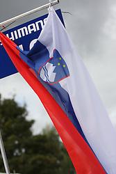 Slovenian flag during the Men´s Under 23 Road Race on day five of the UCI Road World Championships on September 23, 2011 in Copenhagen, Denmark. (Photo by Marjan Kelner / Sportida Photo Agency)