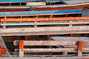 Detail of wooden rowing boats on the river Ganges at Varanasi, Uttar Pradesh, India