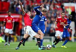 Nemanja Matic of Manchester United tackles Tom Davies of Everton - Mandatory by-line: Matt McNulty/JMP - 17/09/2017 - FOOTBALL - Old Trafford - Manchester, England - Manchester United v Everton - Premier League