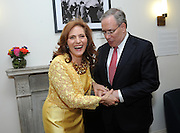 Hunter College President Jennifer J. Raab shares a laugh with New York City Comptroller Scott Stringer at the Hunter College Summer Garden Party, Tuesday, July, 8, 2014, at Roosevelt House in New York. (Photo by Diane Bondareff/Invision for Hunter College/AP Images)