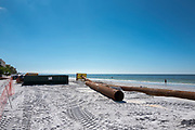 Redington Beach, Pinellas County,  Florida, USA., Monday, 15th October, 2018, Beach Replenishment, Black, Sand Delivery Pipes, to extend the length,