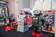 Collection of toy robots, 1950-1970. As a toy, the robot became an international phenomenon. These robots from Japan and the USA demonstrate how<br /> quickly ideas about what robots should look like were created and spread around the world. Incl - Robert the Robot, 1955, Ideal, USA.and Super astronaut robot 1970's, Japan - The Science Museum's new Robots exhibition, opening in February 2017, will explore this very human obsession to recreate ourselves, revealing the remarkable 500-year story of humanoid robots. Featuring a unique collection of over 100 robots, from a 16th-century mechanical monk to robots from science fiction and modern-day research labs, this exhibition will enable visitors to discover the cultural, historical and technological context of humanoid robots. Visitors will be able to interact with some of the 12 working robots on display. Among many other highlights will be an articulated iron manikin from the 1500s, Cygan, a 2.4m tall 1950s robot with a glamorous past, and one of the first walking bipedal robots