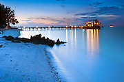 Florida, Anna Maria Island, Rod & Reel Pier, Manatee County, Tampa Bay, Gulf Of Mexico, Beach, Dusk