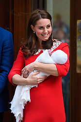 The Duchess of of Cambridge pictured outside the Lindo Wing at St Mary's Hospital in Paddington, London, after the birth of their second son. Photo credit should read: Matt Crossick/EMPICS Entertainment