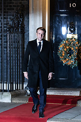 © Licensed to London News Pictures. 03/12/2019. London, UK. French President Emmanuel Macron leaves 10 Downing Street following a meeting with UK Prime Minister Boris Johnson. International leaders are visiting the UK for to mark the 70th anniversary of the North Atlantic Treaty Organisation (NATO) Photo credit : Tom Nicholson/LNP