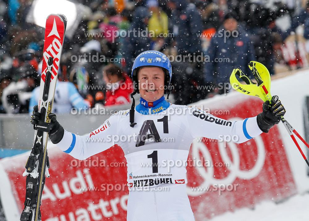 25.01.2015, Zielhaus, Kitzbuehel, AUT, FIS Ski Weltcup, Slalom, Herren, Siegerehrung, im Bild Mattias Hargin (SWE, 1. Platz) // 1st placed Mattias Hargin of Sweden celebrates on podium during the award ceremony for the men's Slalom of Kitzbuehel FIS Ski Alpine World Cup at the Zielhaus in Kitzbuehel, Austria on 2015/01/25. EXPA Pictures © 2015, PhotoCredit: EXPA/ Johann Groder