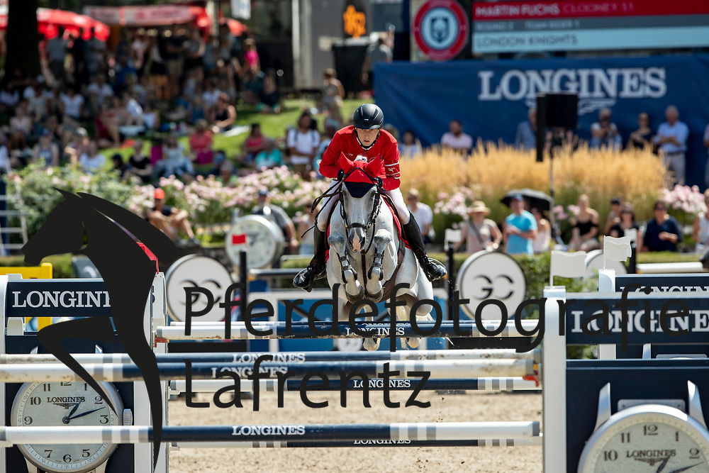 FUCHS Martin (SUI), Clooney<br /> Berlin - Global Jumping Berlin 2018<br /> 2. Wertung für Global Champions League<br /> 28. Juli 2018<br /> © www.sportfotos-lafrentz.de/Stefan Lafrentz