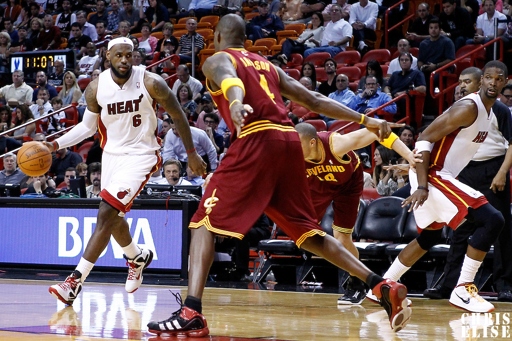 24 January 2012: Miami Heat small forward LeBron James (6) plays a pick and roll with Miami Heat power forward Chris Bosh (1) during the Miami Heat 92-85 victory over the Cleveland Cavaliers at the AmericanAirlines Arena, Miami, Florida, USA.