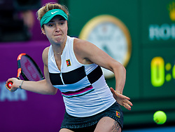 DOHA, Feb. 15, 2019  Elina Svitolina of Ukraine hits a return during the women's singles quarterfinal between Elina Svitolina of Ukraine and Karolina Muchova of the Czech Republic at the 2019 WTA Qatar Open in Doha, Qatar, Feb. 14, 2019. Elina Svitolina won 2-0. (Credit Image: © Nikku/Xinhua via ZUMA Wire)