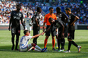 Aouar Houssem of Lyon and Referee Schneider Frank during the French championship L1 football match between Olympique Lyonnais and Amiens on August 12th, 2018 at Groupama stadium in Decines Charpieu near Lyon, France - Photo Romain Biard / Isports / ProSportsImages / DPPI