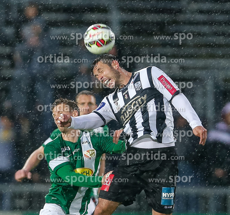 01.05.2015, Reichshofstadion, Lustenau, AUT, 2. FBL, SC Austria Lustenau vs LASK Linz 31. Runde, im Bild Kopfballduell zwischen Daniel Wolf, (SC Austria Lustenau #10) und Radovan Vujanovic, (LASK Linz, #10)// during Austrian Second Bundesliga Football Match, 31th round, between SC Austria Lustenau vs LASK Linz at the Reichshofstadion, Lustenau, Austria on 2015/05/01. EXPA Pictures © 2015, PhotoCredit: EXPA/ Peter Rinderer