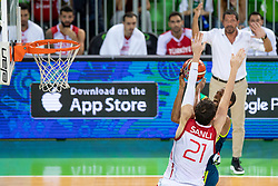 Sertac Sanli of Turkey and Anthony Randolph of Slovenia during basketball match between National teams of Slovenia and Turkey in Round #8 of FIBA Basketball World Cup 2019 European Qualifiers, on September 17, 2018 in Arena Stozice, Ljubljana, Slovenia. Photo by Urban Urbanc / Sportida