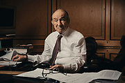 Alan Greenspan at his office in Washington, D.C. on July 23, 2018.