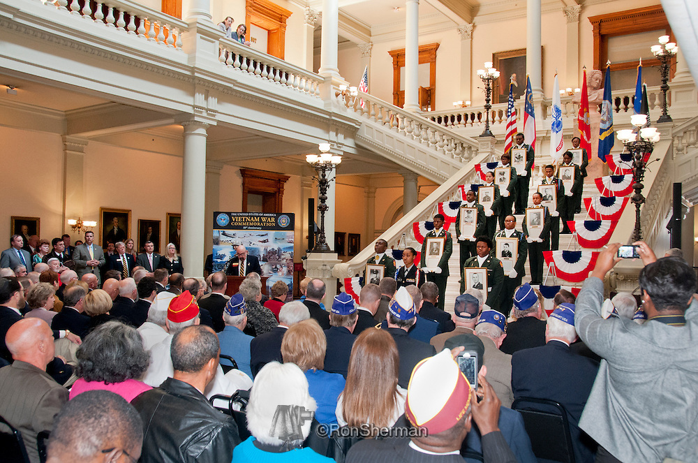 Vietnam Veterans Day in Georgia - A tribute to Georgia Vietnam Medal of Honor Recipients, Atlanta, Georgia; Cadets of Westlake High School JROTC - holding Georgia Medal of Honor recipients photographs - John Sours speaking