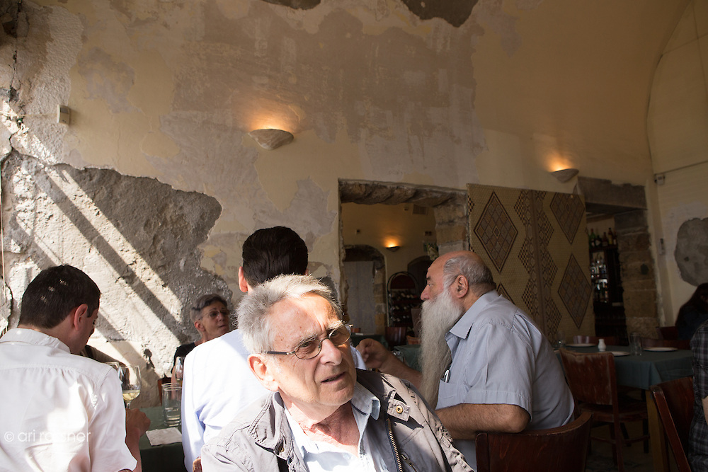 Uri the owner (background) , Jean-Pierre (my father - foreground)<br /> @ Uri Buri Restaurant - Acre, Israel