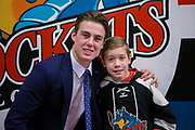 KELOWNA, CANADA - FEBRUARY 12:  Second Star of the Game Kole Lind #16 of the Kelowna Rockets at the Kelowna Rockets game on February 12, 2018 at Prospera Place in Kelowna, British Columbia, Canada.  (Photo By Cindy Rogers/Nyasa Photography,  *** Local Caption ***