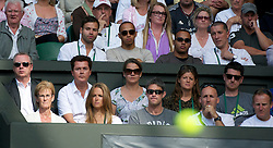 LONDON, ENGLAND - Wednesday, June 29, 2011: Andy Murray's mother Judy and girlfriend Kim Sears along with formula one race driver Lewis Hamilton and half-brother Nicolas during the Gentlemen's Singles Quarter-Final match on day nine of the Wimbledon Lawn Tennis Championships at the All England Lawn Tennis and Croquet Club. (Pic by David Rawcliffe/Propaganda)