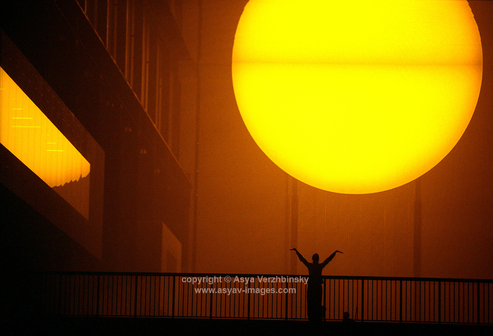 "Tate Modern's Turbine Hall Unilever Series installation entitled ""The Weather Project"" by artist, Olafur Eliasson."