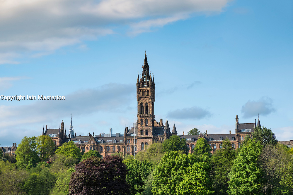 View of Gothic architecture of Glasgow University in Scotland, United Kingdom
