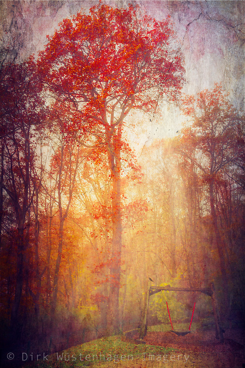 Autumnal morning fog with scarlet leaves on a tree. Painterly processing of a photograph.