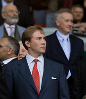 LIVERPOOL, ENGLAND - Tuesday, April 22, 2008: Son of Liverpool's co-owner; Tom Hicks Junior and Chief-Executive Rick Parry during the UEFA Champions League Semi-Final 1st Leg match against Chelsea at Anfield. (Photo by David Rawcliffe/Propaganda)