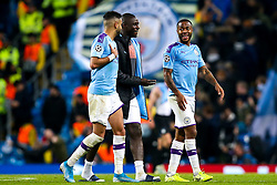Raheem Sterling of Manchester City speaks to Benjamin Mendy of Manchester City and Riyad Mahrez of Manchester City at full time after scoring a hat-trick against Atalanta - Mandatory by-line: Robbie Stephenson/JMP - 22/10/2019 - FOOTBALL - Etihad Stadium - Manchester, England - Manchester City v Atalanta - UEFA Champions League Group Stage