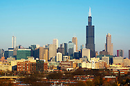 Chicago, IL Fall Skyline featuring the Willis/Sears Tower and the new Trump Tower rising high over the surrounding city landscape.