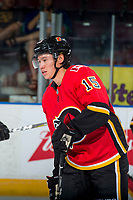 PENTICTON, CANADA - SEPTEMBER 10: Spencer Foo #15 of Calgary Flames warms up against the Vancouver Canucks on September 10, 2017 at the South Okanagan Event Centre in Penticton, British Columbia, Canada.  (Photo by Marissa Baecker/Shoot the Breeze)  *** Local Caption ***