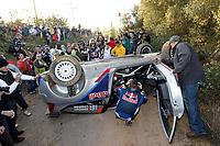 MOTORSPORT - WORLD RALLY CHAMPIONSHIP 2010 - RALLY RACC CATALUNYA COSTA DAURADA / RALLY DE ESPANA / RALLYE D'ESPAGNE - SALOU (SPA) - 21 TO 24/10/10 - PHOTO : FRANCOIS BAUDIN / DPPI - <br /> RAIKKONEN KIMI (FIN) / LINDSTROM KAJ (FIN) - CITROËN C4 WRC - CITROËN JUNIOR TEAM - ACTION CRASH