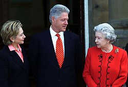 US President Bill Clinton, his wife Hillary (left) and his daughter Chelsea meet Britain's Queen Elizabeth II at Buckingham Palace, in London.