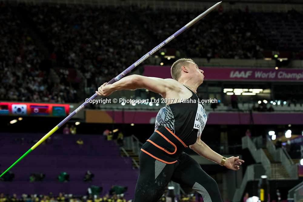 Ben Langton Burnell in action in the Javelin Qualification on Day 7 at the<br /> IAAF World Championships, The London Stadium, Queen Elizabeth Olympic Park, London, England.<br /> 10 August 2017. Copyright photo: Alisha Lovrich / www.photosport.nz
