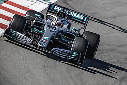 February 18, 2019 - Barcelona, Catalonia, Spain - LEWIS HAMILTON (GBR) from team Mercedes drives in his in his W10 during day one of the Formula One winter testing at Circuit de Catalunya (Credit Image: © Matthias OesterleZUMA Wire)