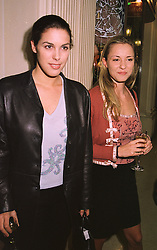Left to right, MISS JESSICA DE ROTHSCHILD, daughter of Sir Evelyn de Rothschild and MISS CAROLINE HICKMAN, at a party in London on 29th April 1998.MHG 21