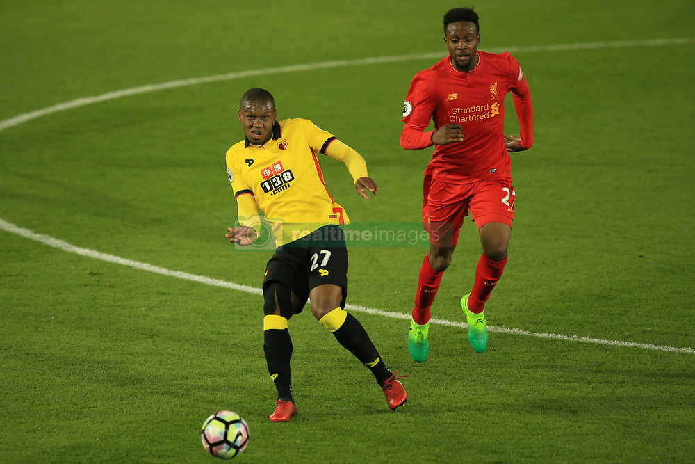 1 May 2017 - Premier League - Watford v Liverpool - Christian Kabasele of Watford in action with Divock Origi of Liverpool - Photo: Marc Atkins / Offside.