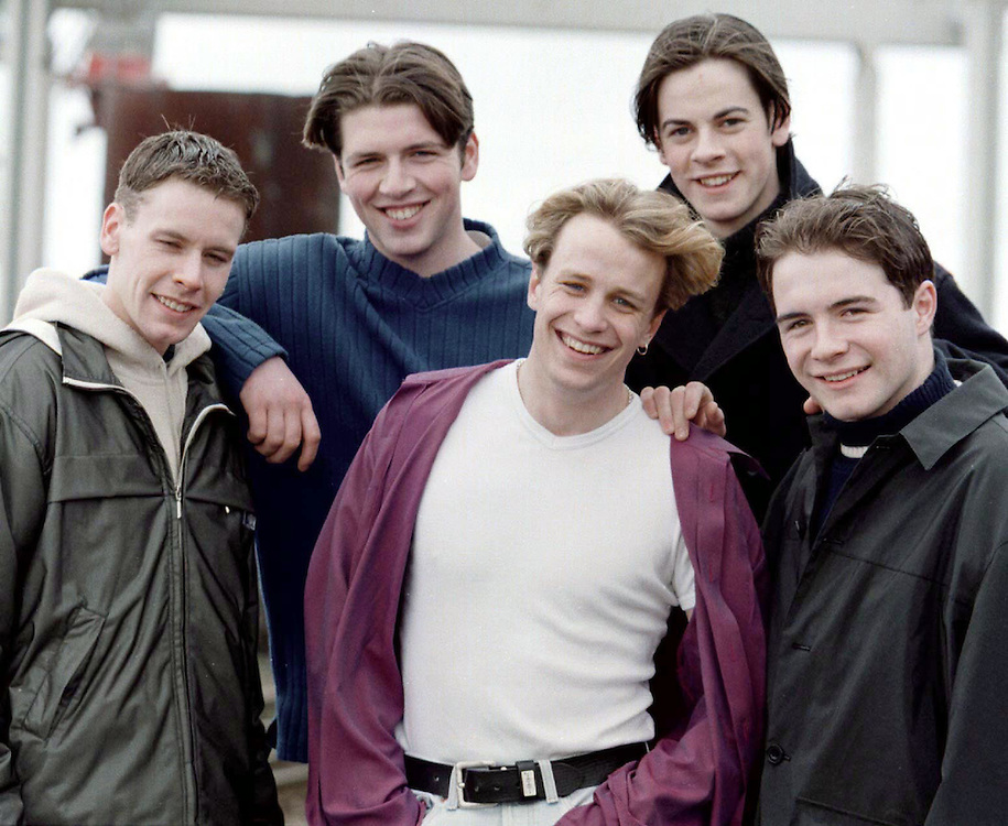 I.O.You, (which later became WestLife) now with five members from left, Graham Keighron, Mark Feehily, Kian Egan, Michael Garrett and Shane Filan. Photo: James Connolly/GreenGraph