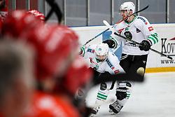 Crt Snoj and Miha Zajc of Olimpija celebrates during ice hockey match between HDD SIJ Acroni Jesenice and HDD Olimpija Ljubljana in Final of Slovenian League 2016/17, on April 9, 2017 in Podmezaklja, Jesenice, Slovenia. Photo by Matic Klansek Velej / Sportida