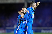 Peterborough United midfielder Erhun Oztumer celebrates with goal scorer Conor Washington during the Sky Bet League 1 match between Peterborough United and Shrewsbury Town at the ABAX Stadium, Peterborough, England on 12 December 2015. Photo by Aaron Lupton.