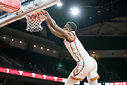 Southern California Trojans forward Onyeka Okongwu (21) dunks against the Pepperdine Waves during an NCAA college basketball game, Tuesday, Nov. 19, 2019, in Los Angeles. USC defeated Pepperdine 91-84. (Jon Endow/Image of Sport)