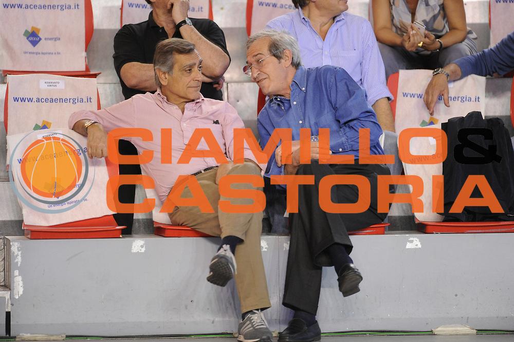 DESCRIZIONE : Roma Lega A 2014-15 <br /> Acea Virtus Roma - Acqua Vitasnella Cantu<br /> GIOCATORE : Claudio Toti Sergio D'Antoni <br /> CATEGORIA : presidente pre game vip <br /> SQUADRA : Acea Virtus Roma<br /> EVENTO : Campionato Lega A 2014-2015 <br /> GARA : Acea Virtus Roma - Acqua Vitasnella Cantu<br /> DATA : 10/05/2015<br /> SPORT : Pallacanestro <br /> AUTORE : Agenzia Ciamillo-Castoria/N. Dalla Mura<br /> Galleria : Lega Basket A 2014-2015  <br /> Fotonotizia : Roma Lega A 2014-15 Acea Virtus Roma - Acqua Vitasnella Cantu