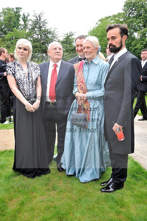 Left to right, Anastasia Virganskaya, MIKHAIL GORBACHEV, VANESSA REDGRAVE and EVGENY LEBEDEV at the Raisa Gorbachev Foundation fourth annual fundraising gala dinner held at Stud House, Hampton Court, Surrey on 6th June 2009.