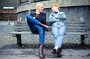 Nigel and Mark on a bench, High Wycombe, UK, 1980s.