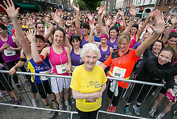 Repro Free: 02/06/2014 Dublin <br /> 89 year old Maureen Armstrong from Drombane, Thurlus, Co Tipperary is pictured at the start line for her 20th Flora Women&rsquo;s Mini Marathon running for the Irish Cancer Society. Picture Andres Poveda