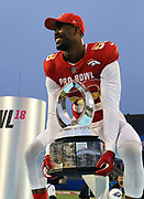 Jan 28, 2018; Orlando, FL, USA;  AFC outside linebacker Von Miller of the Denver Broncos (58) holds the trophy after he is awarded defensive player of the game in the 2018 NFL Pro Bowl at Camping World Stadium. The AFC defeated the NFC 24-23. (Steve Jacobson/Image of Sport)