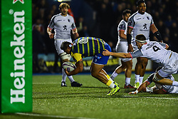 Nick Williams of Cardiff Blues is tackled by Florian Verhaeghe of Toulouse - Mandatory by-line: Craig Thomas/JMP - 14/01/2018 - RUGBY - BT Sport Cardiff Arms Park - Cardiff, Wales - Cardiff Blues v Toulouse - European Rugby Challenge Cup