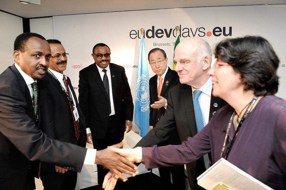 20160615 - Brussels , Belgium - 2016 June 15th - European Development Days - Bilateral Meeting Ban Ki-Moon<br /> Secretary General, United Nations<br /> and Hailemariam Desalegn Boshe<br /> Prime Minister of Ethiopia<br /> © European Union