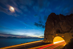 """""""Cave Rock At Night 1"""" - Night time photograph of Cave Rock on Lake Tahoe's east shore, the moon can be seen in the shot."""