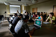 College of Business Pre-College, Summer 2008: Student Session..Academic Advisor Lori Mardis talks with students during Ohio University Summer Pre-College..Photos By: Joshua Armstrong