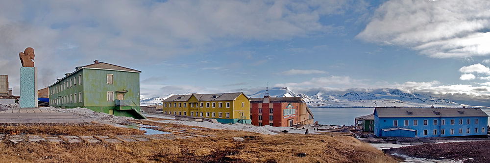 Barentsburg, Spitsbergen, Svalbard with Lenin overlloking the cily.